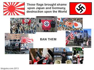 Rising Sun and Nazi Swastika flags