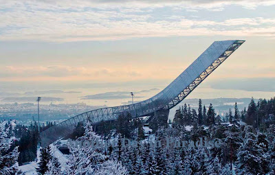 Exceptional view of  Holmenkollen, Oslo in winter
