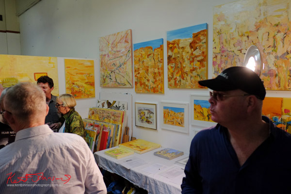 Paintings and crowd, Tony Williams Studio Space.