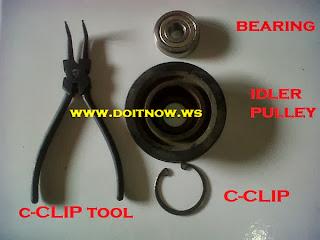 Bearing, Idler Pulley dan C-Clip Tool