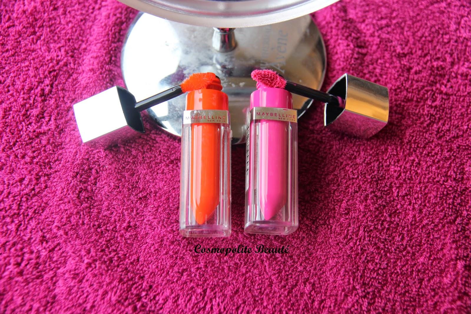 lipstick, Color Elixir, Gemey Maybelline, laque à lèvres, rouge à lèvres, fushia, orangé, Cosmopolite Beauté