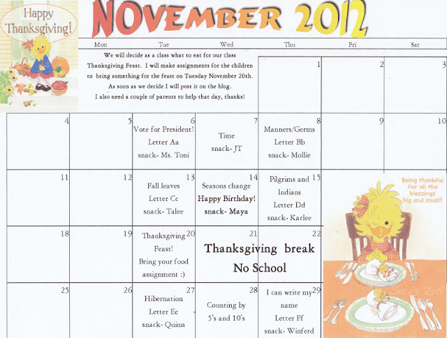 November Kindergarten Calendar : The starting line preschool november calendar