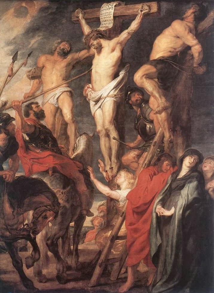 Jesus na cruz entre os dois ladrões. 1619-1620. Por Rubens, atualmente no Museu Real de Belas Artes de Antuérpia, na Bélgica.
