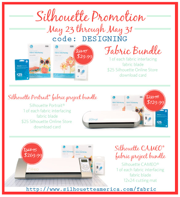 Silhouette May Promotions - save BIG on their Fabric Bundle, Silhouette Portrait and Silhouette Cameo!  #silhouette #spon