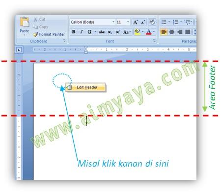Gambar: Cara mengedit header (atau footer) melalui Ribbon Insert di Microsoft Word 2007