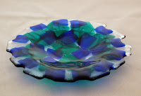 Blue & green fused glass bowl