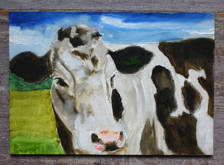 Cow - Oil on board by Tim Irving