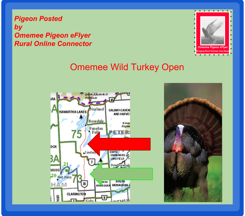 Fall Omemee Turkey Hunt Map showing turkey and map  North of highway 7 not allowed