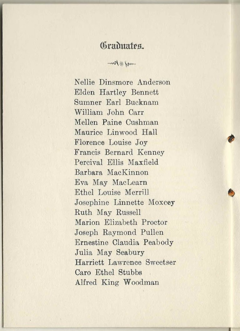 1915 graduation program of yarmouth high school at yarmouth maine graduates