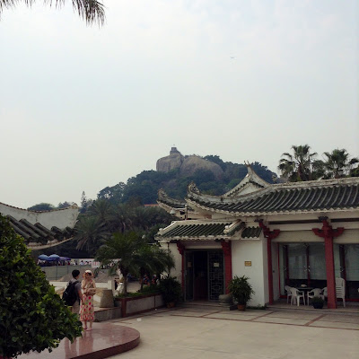 view of sunlight rock from gulangyu island