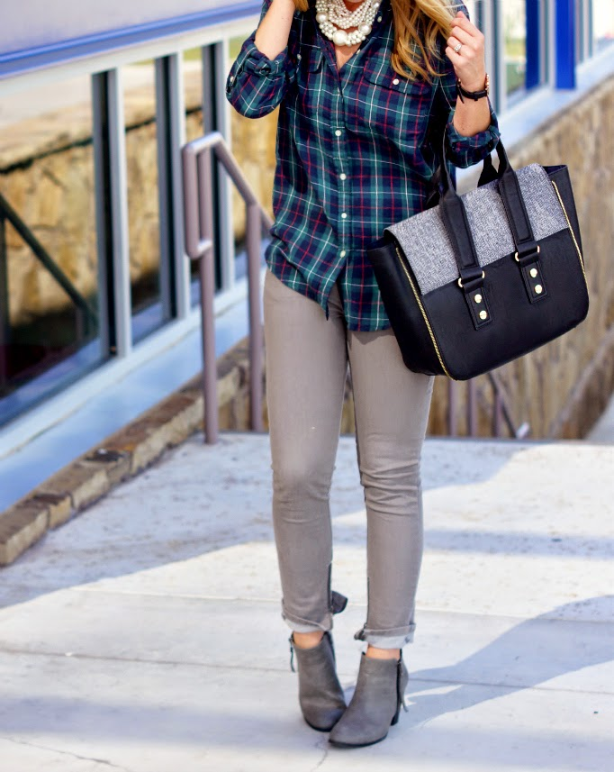 Joe Fresh plaid oxford and skinny ankle zipper denim with gray ankle booties
