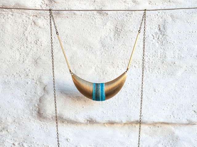 Crescent Moon Pendant Wrapped in Cotton Thread by Trincar Uvas