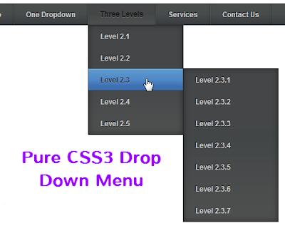 Menu ngang xổ dọc xuống nhiều cấp (Kiểu 1) với CSS3