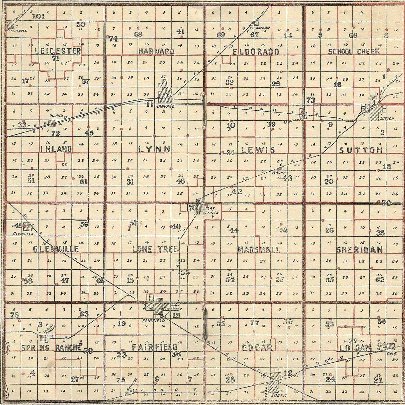 1930 1931 rural school map from the clay county nebraska educational directory fannie r haylett county superintendent