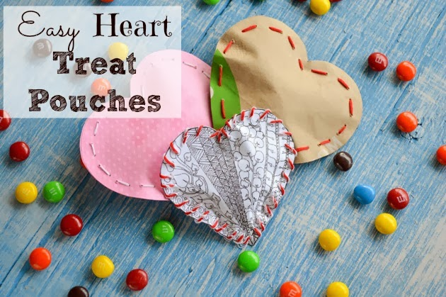 Easy Valentines Heart Treat Pouches with Printables