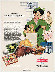 Image result for eating tv dinner on tray table in front of tv