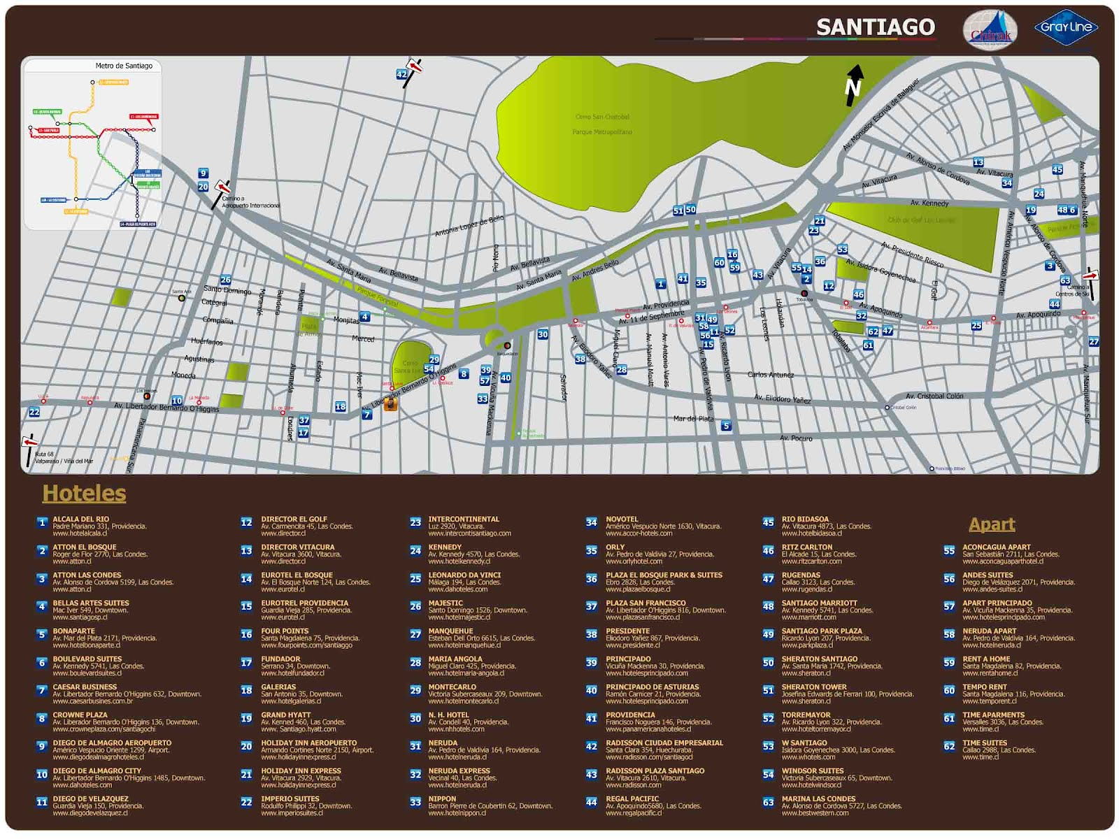 Santiago do chile mapa turistico for Calles de santiago de chile