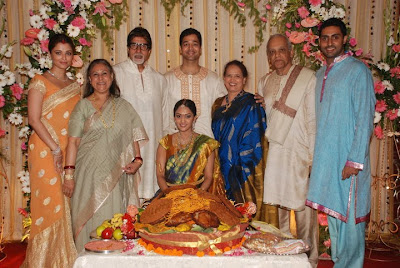 Aishwarya Rai and Abi and Amitab in her sister marriage