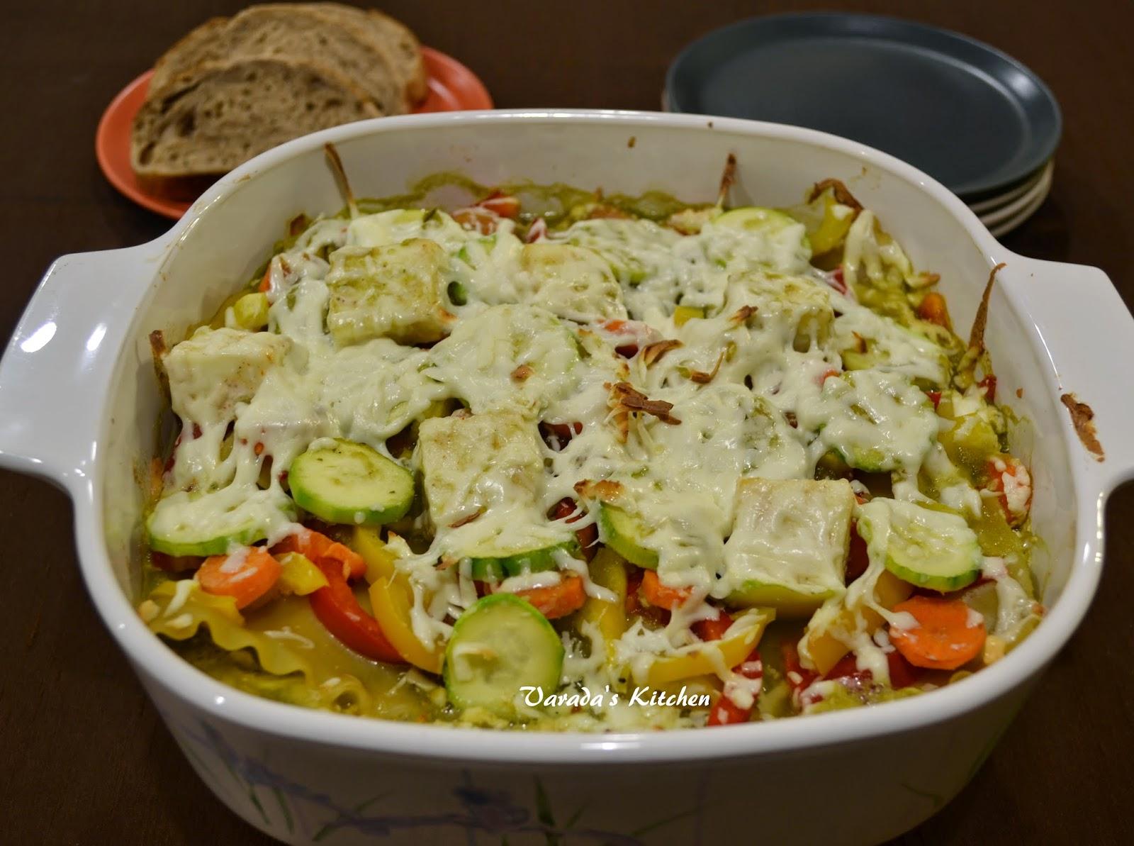 Varada's Kitchen: Salsa Verde Vegetable Lasagna / Pasta Bake