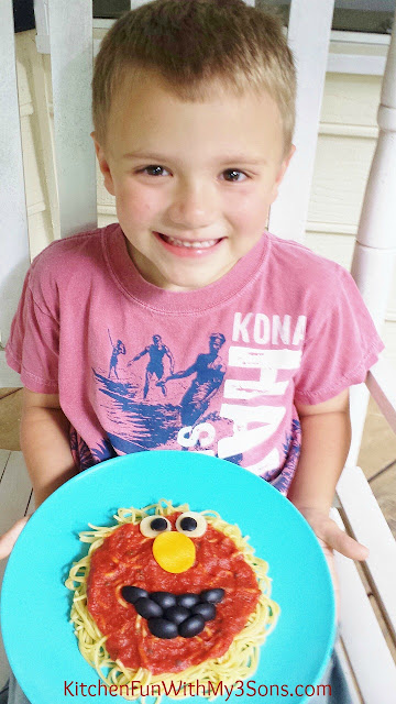 Sesame Street Elmo Spaghetti from KitchenFunWithMy3Sons.com