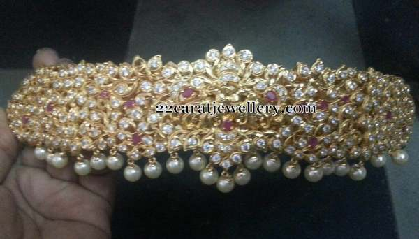 1 Gram Gold Pachi Work Vaddanam Sets Jewellery Designs