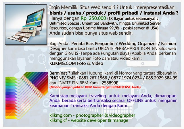 Jasa pembuatan  situs web & pengelolaan situs web + Foto & Video