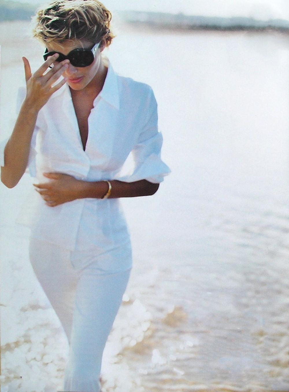 Helena Christensen in Allure October 1994 (photography: Mario Testino) / white shirt in fashion editorials / short history of white shirt / wardrobe essentials / via fashioned by love british fashion blog