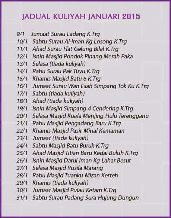 Jadual Kuliah Ustaz Azhar Idrus 2014