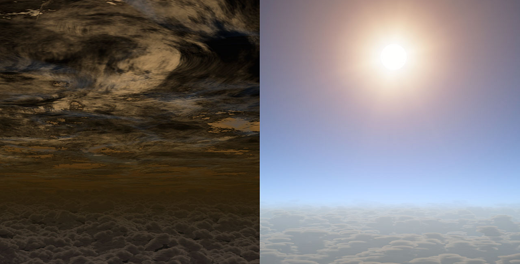 This artist's concept shows what the sky may look like on other planets. On the left is a planet with an atmosphere of thick clouds and on the right a planet with clear skies.  The clear sky on the right may well resemble the skies of planet HAT-P-11b. This planet, a Neptune-sized body orbiting a distant star, has recently been studied and found to have clear skies. This is very useful as clouds in the atmospheres of planets can block the view to underlying molecules that reveal information about a planet's composition and history.  Credit:  NASA/JPL-Caltech