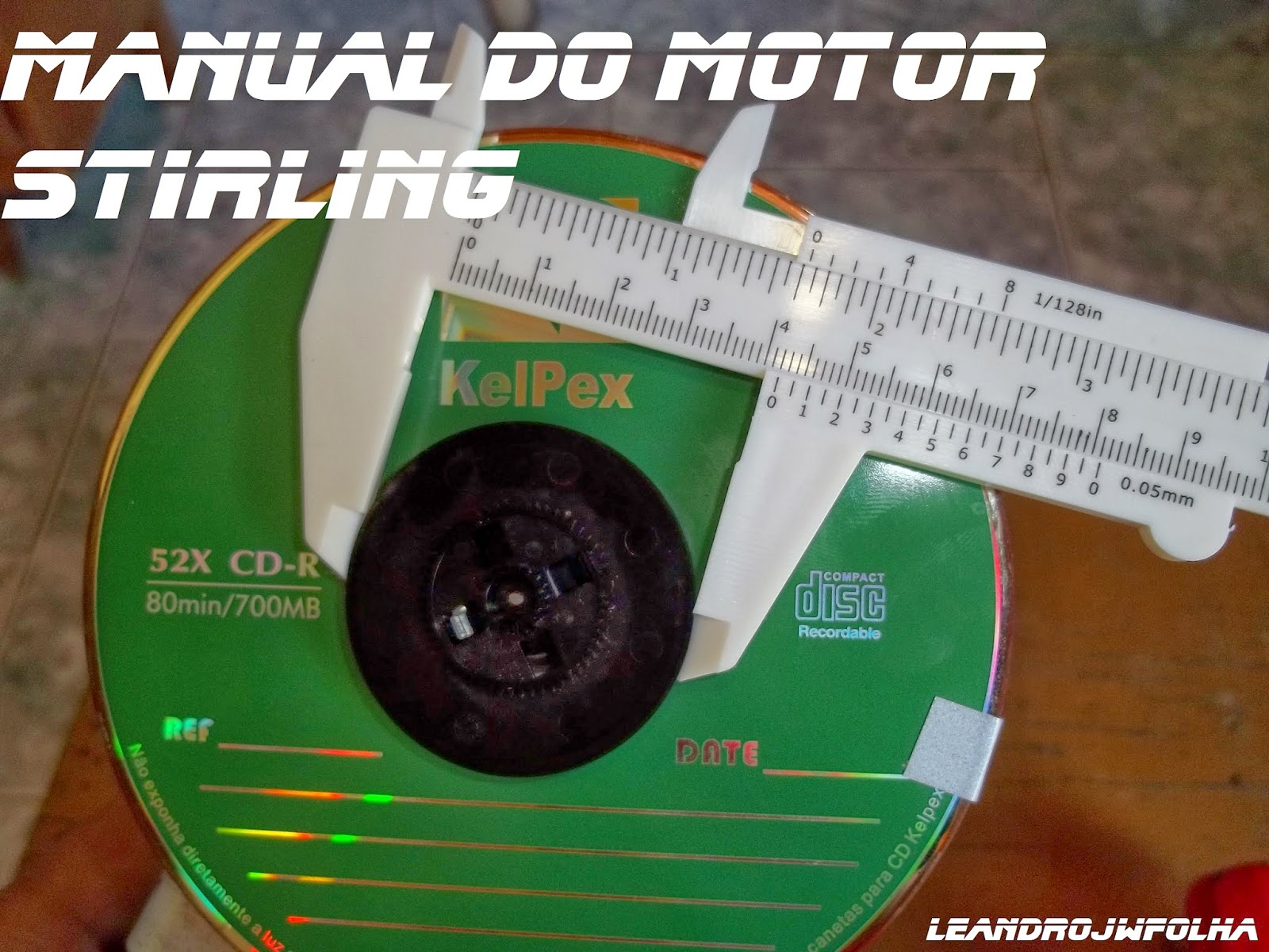 Manual do motor Stirling, 42 mm é o diâmetro da polia do motor