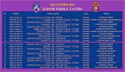 JADUAL LIGA SUPER 2014 JOHOR DT