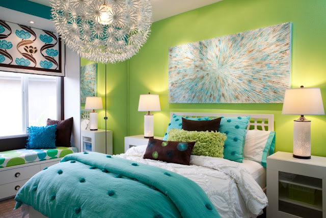 Teen Girl Bedroom Blue Green