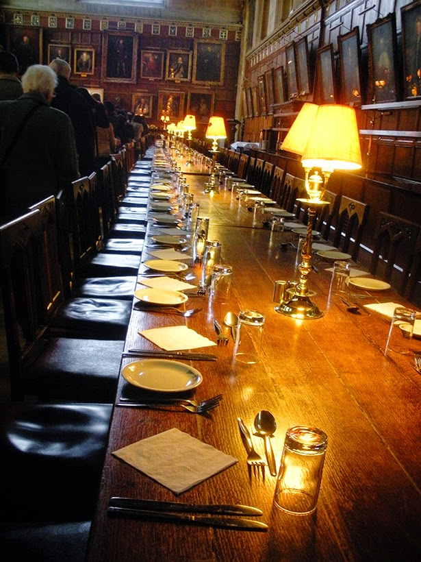 The dining hall at Oxford University in Oxford, England