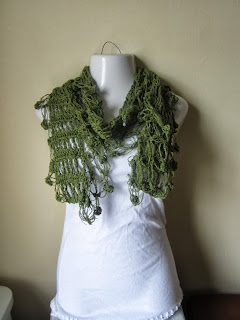 olive green crocheted scarf fringe wrap by ElegantCrochets
