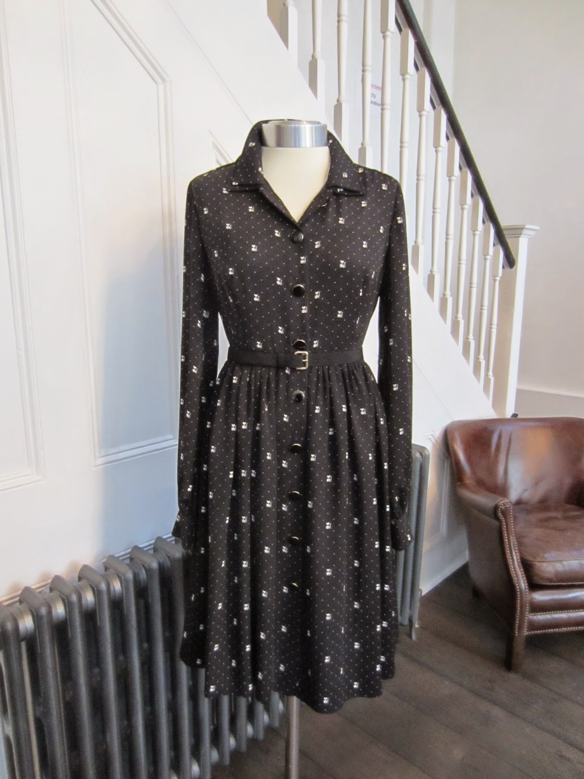 Orla Kiely Black Dress with Cream Cat Print