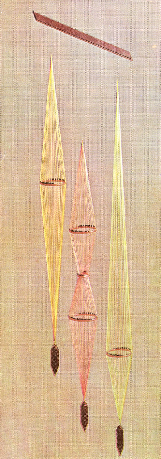vintage string mobile fil fils années 70 1973