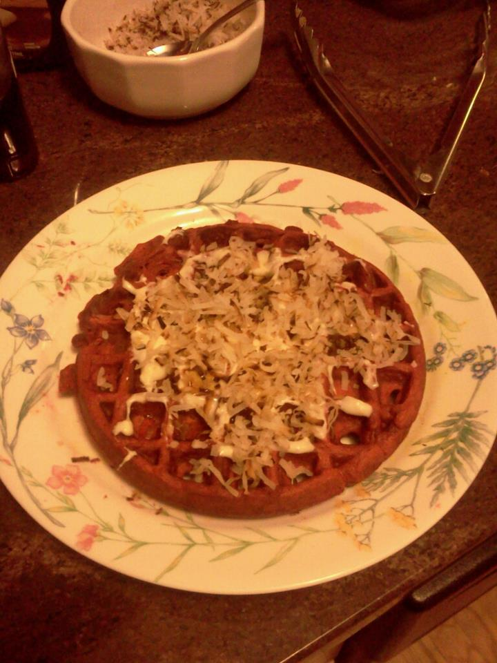 The No Meat Mama: Red Velvet Waffles w/ Cream Cheese Maple ...
