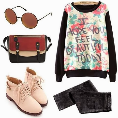 Women style - Round Glasses, Pink Shoes, Jeans and Suitable  Long Bag
