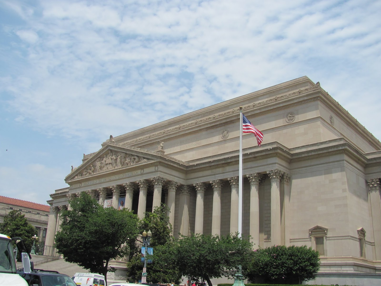 Front entrance of the National Archives in Washington, DC