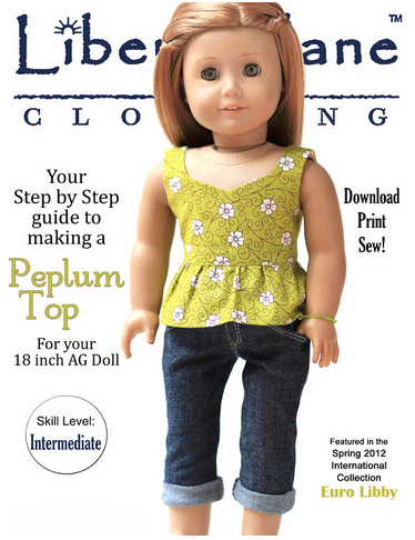 "Peplum Top 18"" Doll Clothes Pattern by Liberty Jane from Pixie Faire"