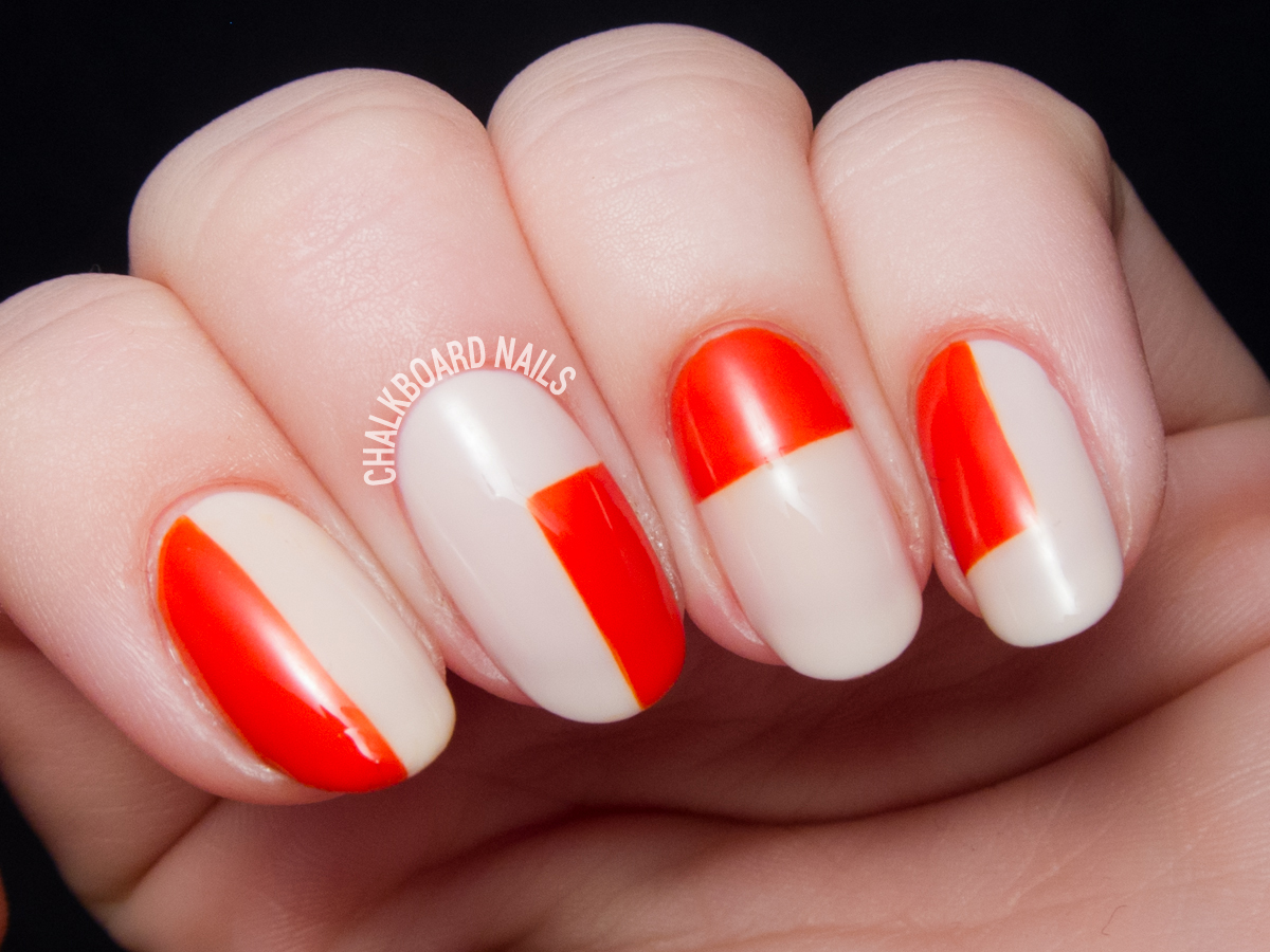 Color blocked nail art by @chalkboardnails