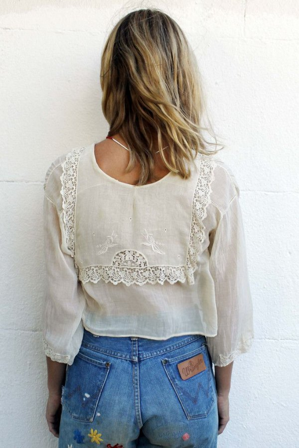 white romantic shirt