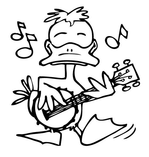 Pato con banjo para colorear