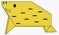 Bước 12: Vẽ mắt, mũi, sừng... để hoàn thành cách xếp con Heo rừng, lợn rừng bằng giấy đơn giản theo phong cách origami.