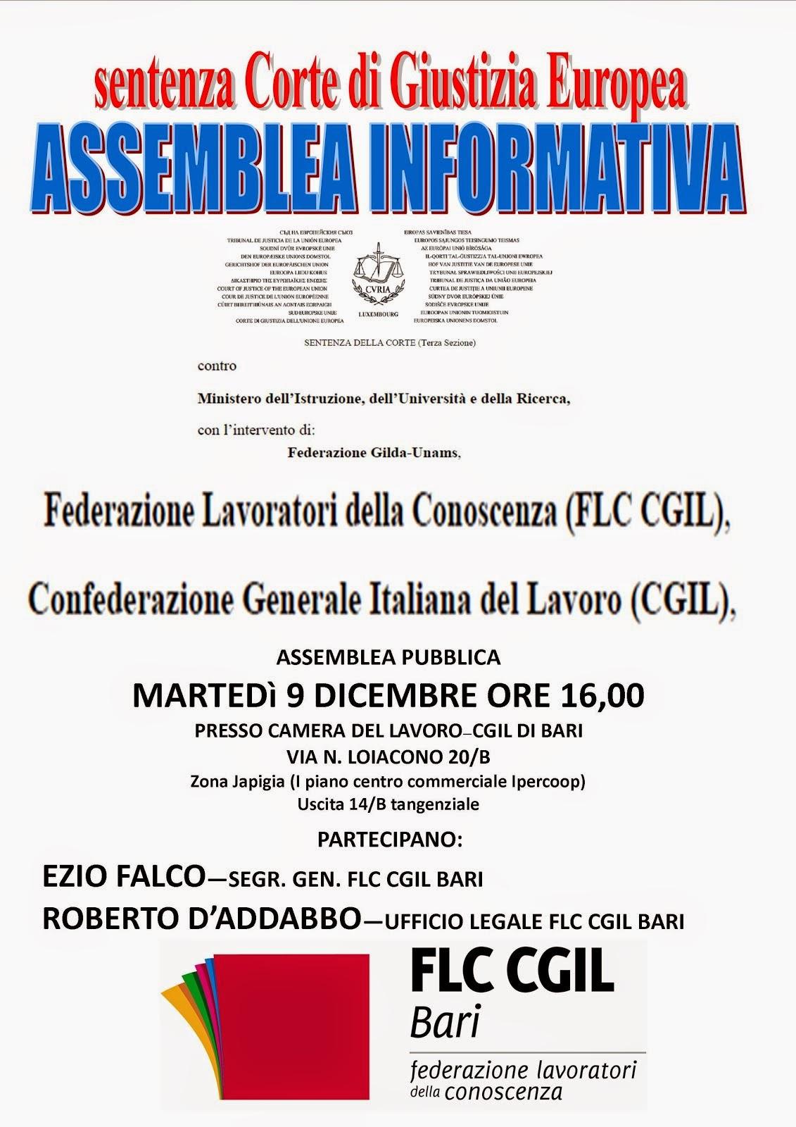 Sentenza corte di giustizia europea: assemblea il 9 dicembre a Bari