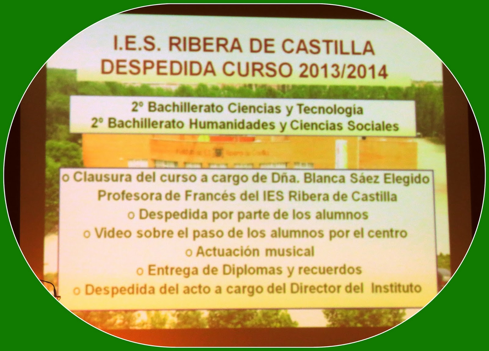 DE CASTILLA (Valladolid): graduación segundo bachillerato 2013/14