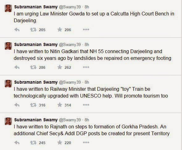 Subramanian Swamy tweeted to form Gorkha Pradesh