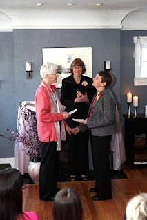 Jill and Chris read poem to each other - Patricia Stimac, Seattle Wedding Officiant