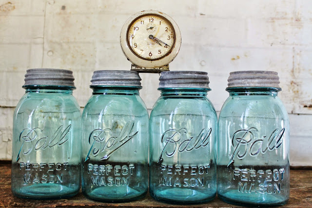 Vintage Blue Ball Canning Jars with Zinc Lids via KnickofTimeInteriors.blogspot.com