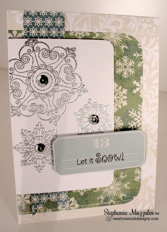 Snowflake Card by Stephanie Muzzulin for Newton's Nook Designs | Beautiful Blizzard Stamp Set